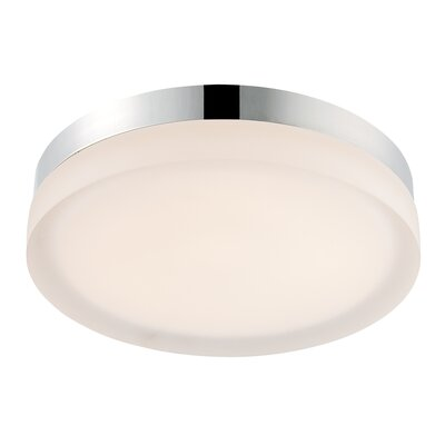 Clack 1-Light Flush Mount Finish: Chrome, Bulb Color Temperature: 2700K, Size: 2 H x 9 W x 9 D