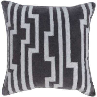 Naudain Throw Pillow Cover Size: 18 H x 18 W x 0.25 D, Color: BlackGray