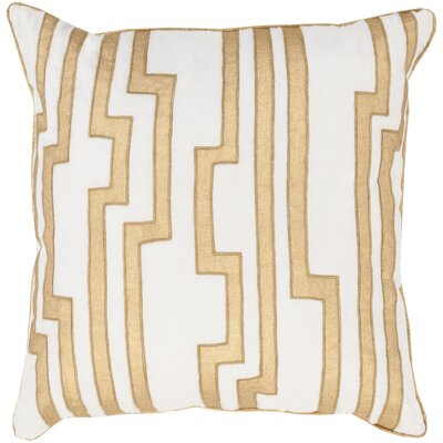 Naudain Throw Pillow Cover Size: 18 H x 18 W x 0.25 D, Color: NeutralMetallic
