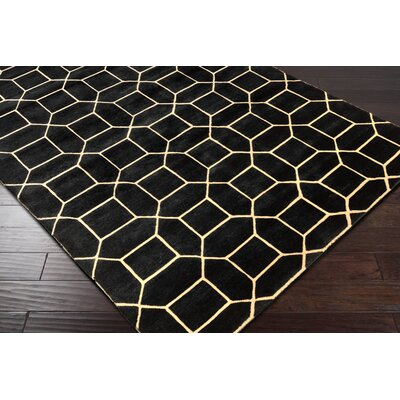 Oliviana Hand-Knotted Black/Gold Area Rug Rug Size: 4 x 6