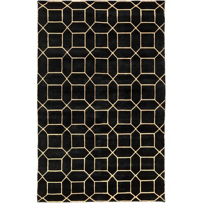 Oliviana Hand-Knotted Black/Gold Area Rug Rug Size: 6 x 9