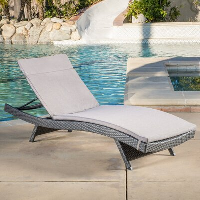 Winscombe Chaise Lounge with Cushion Finish: Grey, Fabric: Navy