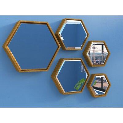5 Piece Hexagonal Beveled Mirror Set