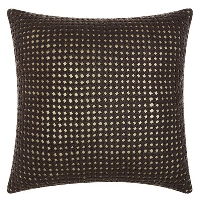 Nevius Leather Throw Pillow Color: Brown/Gold