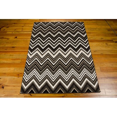 Olympias Gray/Black Area Rug Rug Size: 53 x 76