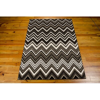 Olympias Gray/Black Area Rug Rug Size: 79 x 106
