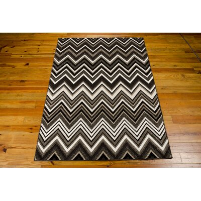 Olympias Gray/Black Area Rug Rug Size: 39 x 59