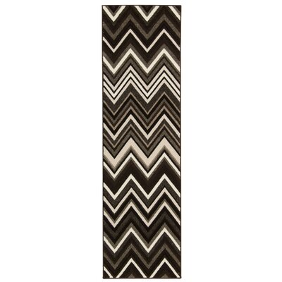 Olympias Gray/Black Area Rug Rug Size: Runner 22 x 76