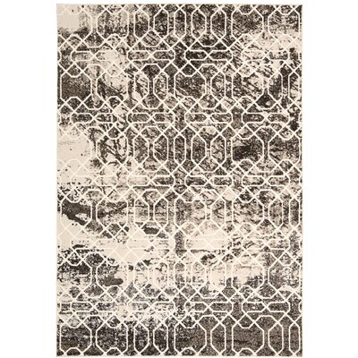Olympias Ivory/Black Area Rug Rug Size: 53 x 76