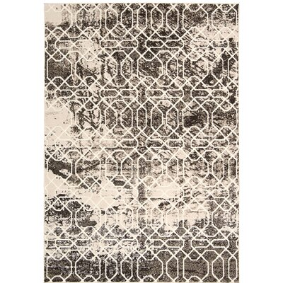 Floria Ivory/Black Area Rug Rug Size: Rectangle 79 x 106
