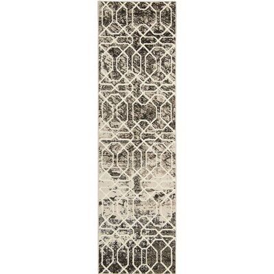Olympias Ivory/Black Area Rug Rug Size: Runner 22 x 76