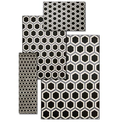 Ophiuchus 4 Piece Hand Crafted Black and White Area Rug Set