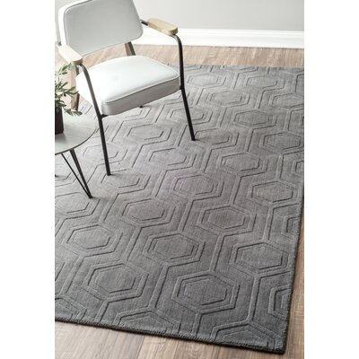 Schuykill Hand-Woven Gray Area Rug Rug Size: 86 x 116
