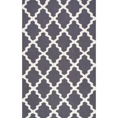 Oneil Hand-Hooked Charcoal Area Rug Rug Size: 5 x 8