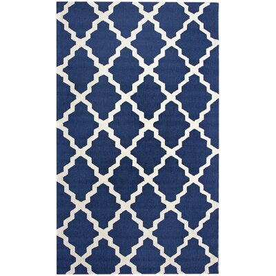 Oneil Hand-Hooked Navy Blue Area Rug Rug Size: 76 x 96