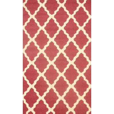 Orner Hand-Hooked Berry/Beige Area Rug Rug Size: 76 x 96
