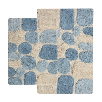Gallager 2 Piece Contemporary Bath Rug Set Color: Blue