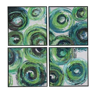 4-Piece Modern Circles Framed Painting Print