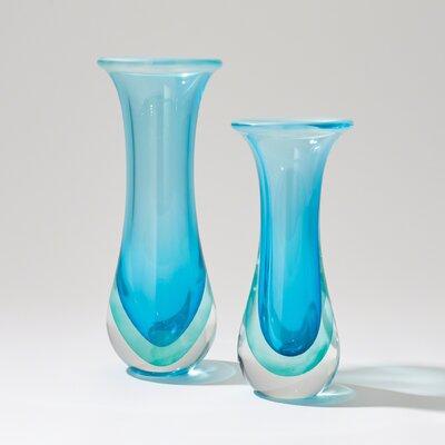 Trumpet Glass Flair Vase Color: Ocean, Size: 13.75