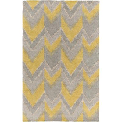 Smithfield Hand-Tufted Yellow/Gray Area Rug Rug size: 5 x 8