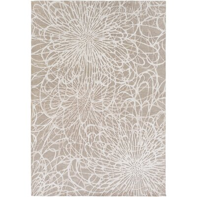 Oconnell Hand-Knotted Taupe/Ivory Area Rug Rug size: 9 x 13