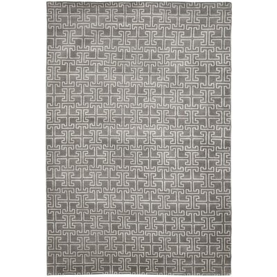 Solorio Hand-Knotted Gray/Ivory Area Rug Rug Size: Rectangle 10 x 14