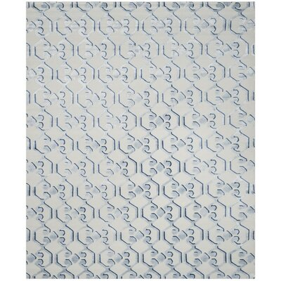 Sonia Hand-Knotted Blue/Ivory Area Rug Rug Size: 6 x 9