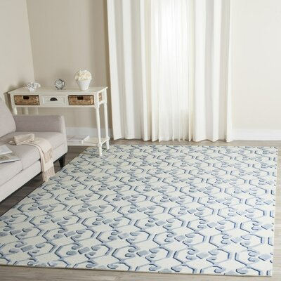 Sonia Hand-Knotted Blue/Ivory Area Rug Rug Size: Rectangle 9 x 12
