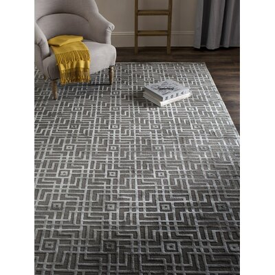 Soundview Hand-Knotted Gray Area Rug Rug Size: 10 x 14