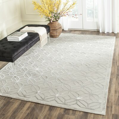 Flippen Hand-Knotted Gray Area Rug Rug Size: Rectangle 9 x 12