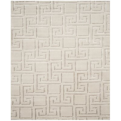 Steinber Hand-Knotted Silver Area Rug Rug Size: Rectangle 8 x 10