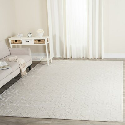 Suruga Hand-Knotted Ivory Area Rug Rug Size: Rectangle 6 x 9