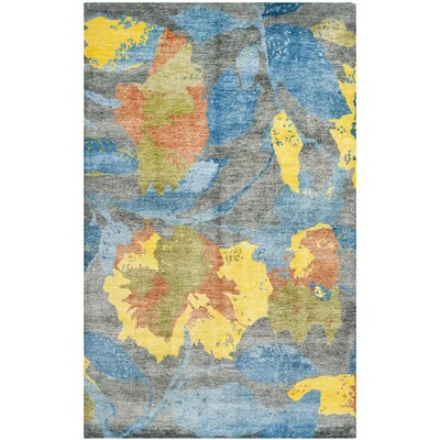 Lower Failand Hand-Knotted Blue/Charcoal Area Rug Rug Size: Rectangle 9 x 12