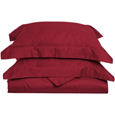 Backwell Egyptian-Quality Cotton Duvet Set Size: Full/Queen, Color: Burgundy