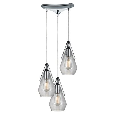 Second Avenue 3-Light Cascade Pendant Finish: Oil Rubbed Bronze
