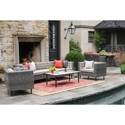 Kenn 6 Pieces Deep Seating Group with Cushion Finish: Cast Ash