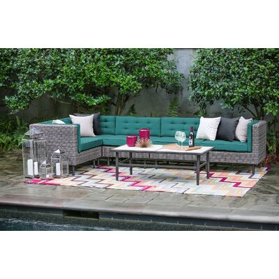 Kenn 6 Pieces Deep Seating Group with Cushion Finish: Spectrum Peacock