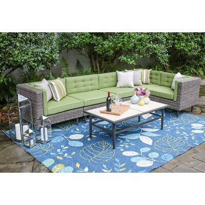 Kenn 6 Pieces Deep Seating Group with Cushion Finish: Spectrum Cilantro
