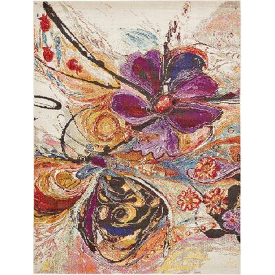 Sofia Beige/Purple Area Rug Rug Size: 22 x 3