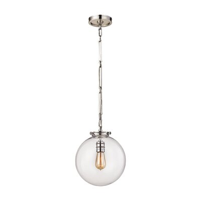 Manzo 1-Light Globe Pendant Finish: Polished Nickel, Shade Color: Opal