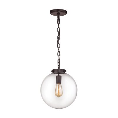 Manzo 1-Light Globe Pendant Finish: Oil Rubbed Bronze, Shade Color: Opal, Size: 16 H x 14 W x 14 D