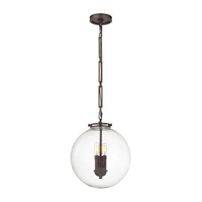 Manzo 1-Light Globe Pendant Finish: Oil Rubbed Bronze, Shade Color: Clear