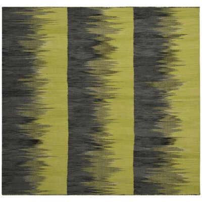Amerina Hand-Woven Green/Charcoal Area Rug Rug Size: Square 5