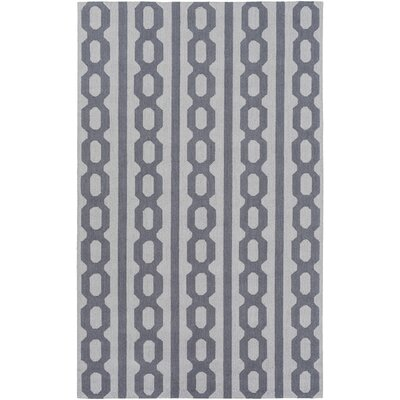 Herring Hand-Hooked Navy/Light Gray Area Rug Rug size: Rectangle 5 x 76