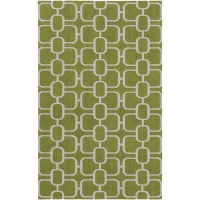 Herring Hand-Hooked Grass Green/Light Gray Area Rug Rug size: Runner 26 x 8