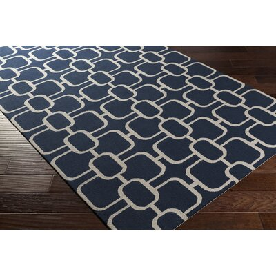 Herring Hand-Hooked Navy/Ivory Area Rug Rug size: Rectangle 4 x 6