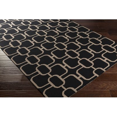 Herring Hand-Hooked Black/Beige Area Rug Rug size: Rectangle 4 x 6