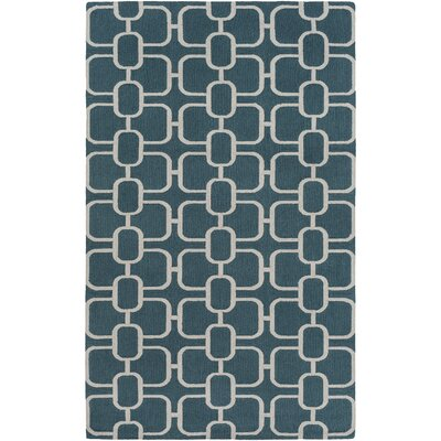 Herring Hand-Hooked Dark Green/Ivory Area Rug Rug size: Rectangle 5 x 76