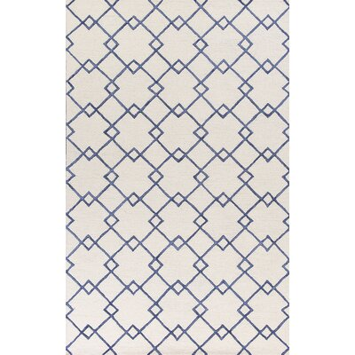 Frankie Hand-Tufted Ivory/Blue Area Rug Rug Size: Rectangle 5 x 76