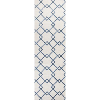 Frankie Hand-Tufted Ivory/Blue Area Rug Rug Size: Runner 23 x 76